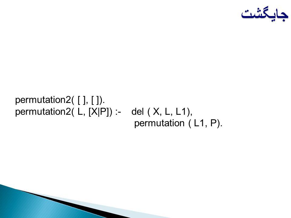 جایگشت permutation2( [ ], [ ]).